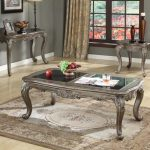 Chantelle Collection Antique Platinum Living Table Set
