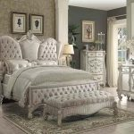 Versailles Collection Ivory Velvet Bedroom Set