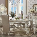 Versailles Collection Ivory Velvet Dining Set