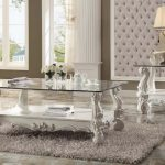 Versailles Collection Ivory Velvet Living Table Set