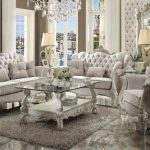 Versailles Collection Ivory Velvet Sofa Set A