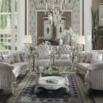 Versailles Collection Ivory Velvet Sofa Set B